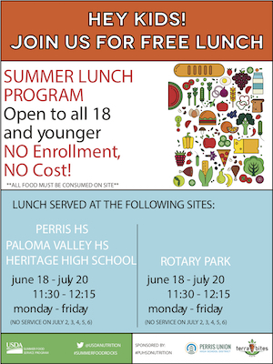 Image with text reading, Summer Lunch Program