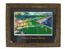 """18TH at Pebble Beach"" by LeRoy Neiman. Signed, Framed Lithograph"