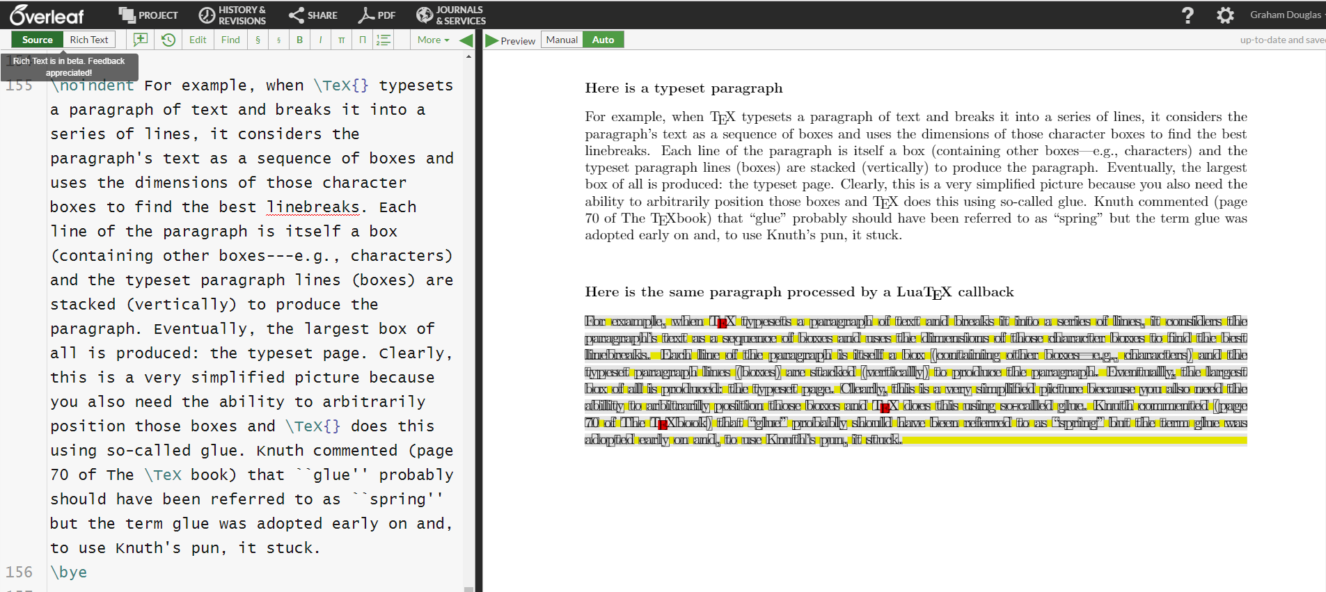 Screenshot of Overleaf
