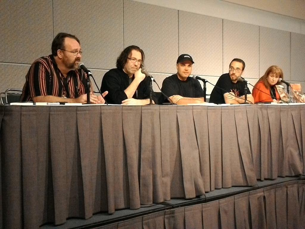 Me, speaking with best selling authors Rebecca Moesta, Peter Wacks, and Neo Edmund at Los Angeles Comic Con