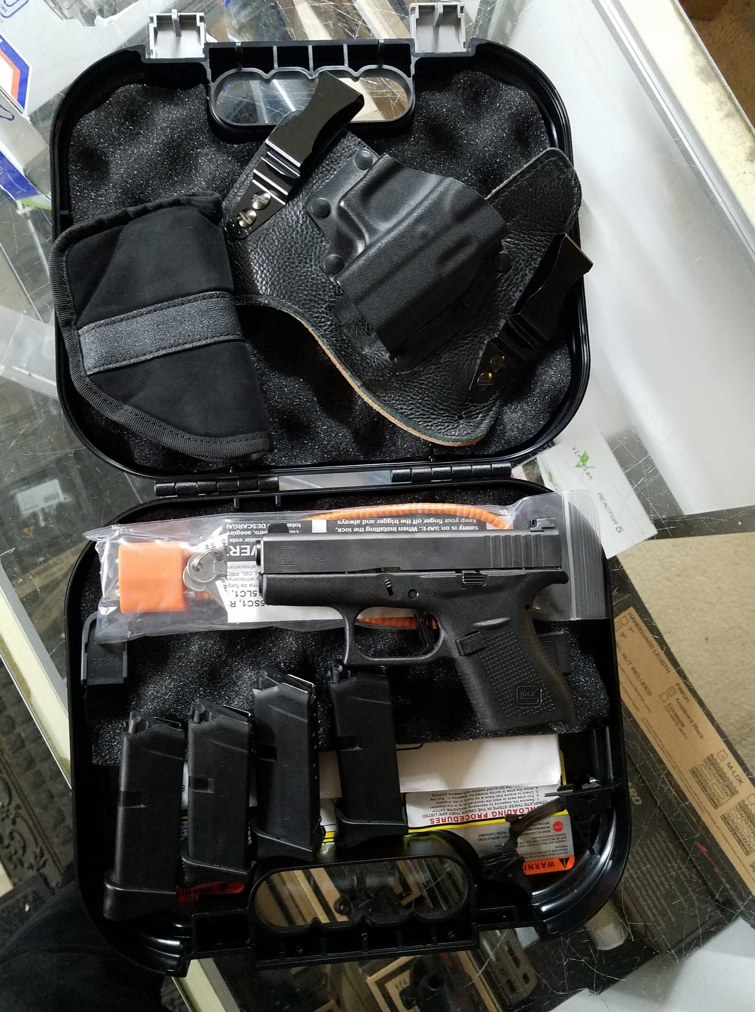 Glock G42 with extra mags and holsters | Ken and Deb Guns LLC