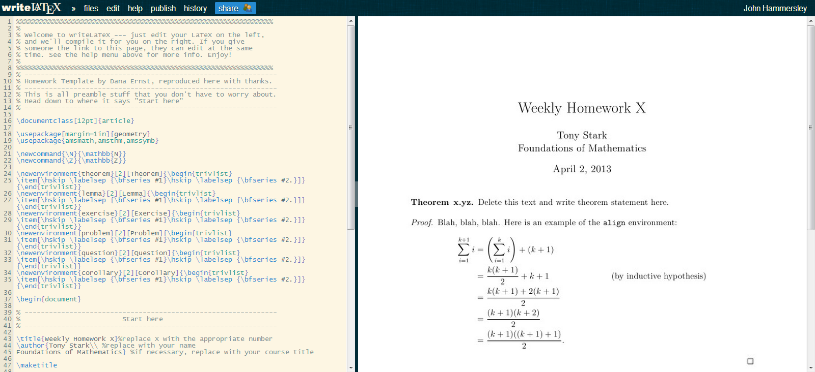 Homework template screenshot