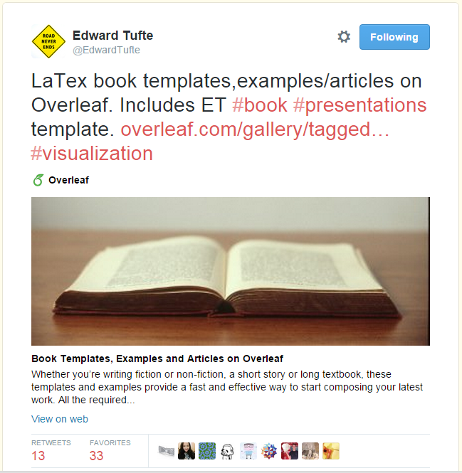 Edward Tufte Overleaf template tweet