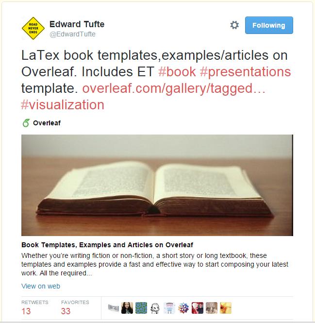 Edward Tufte Overleaf template tweet