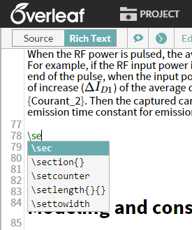 Overleaf auto complete LaTeX editor screenshot