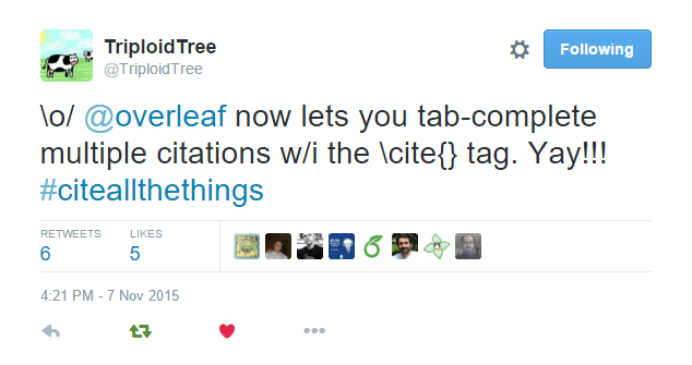 Tweet screenshot about the new Overleaf auto-complete update