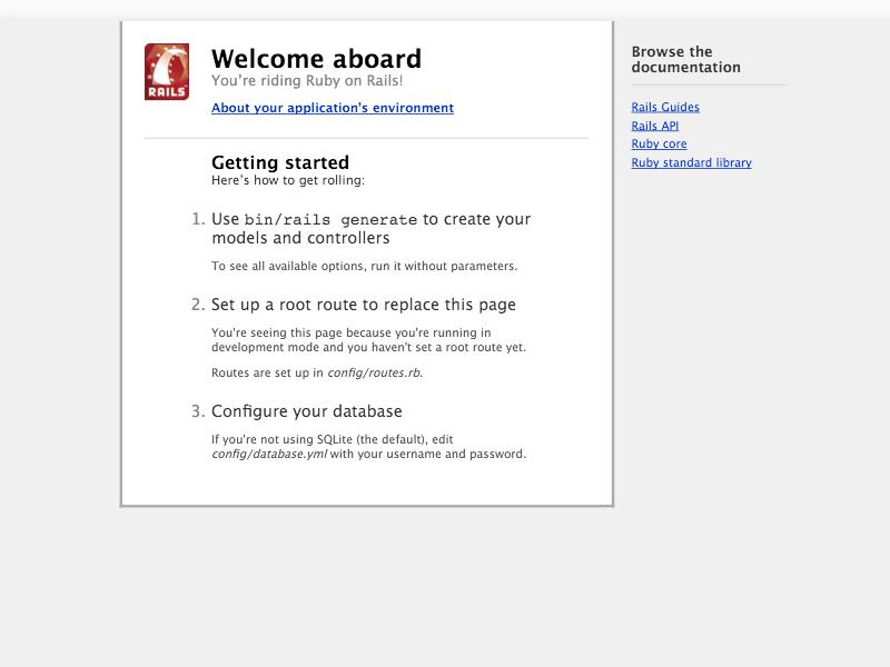 Rails starter page