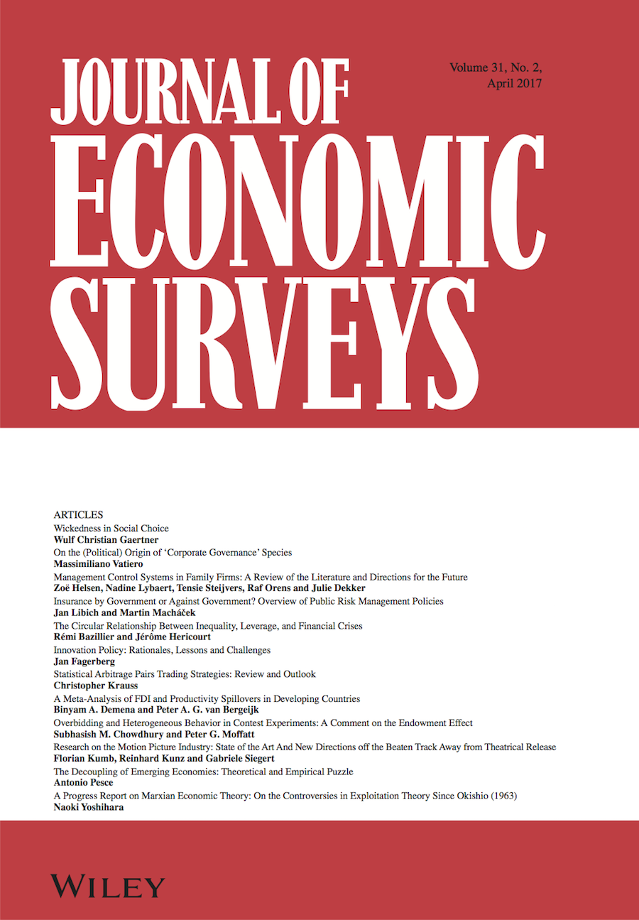 Template for submissions to Journal of Economic Surveys