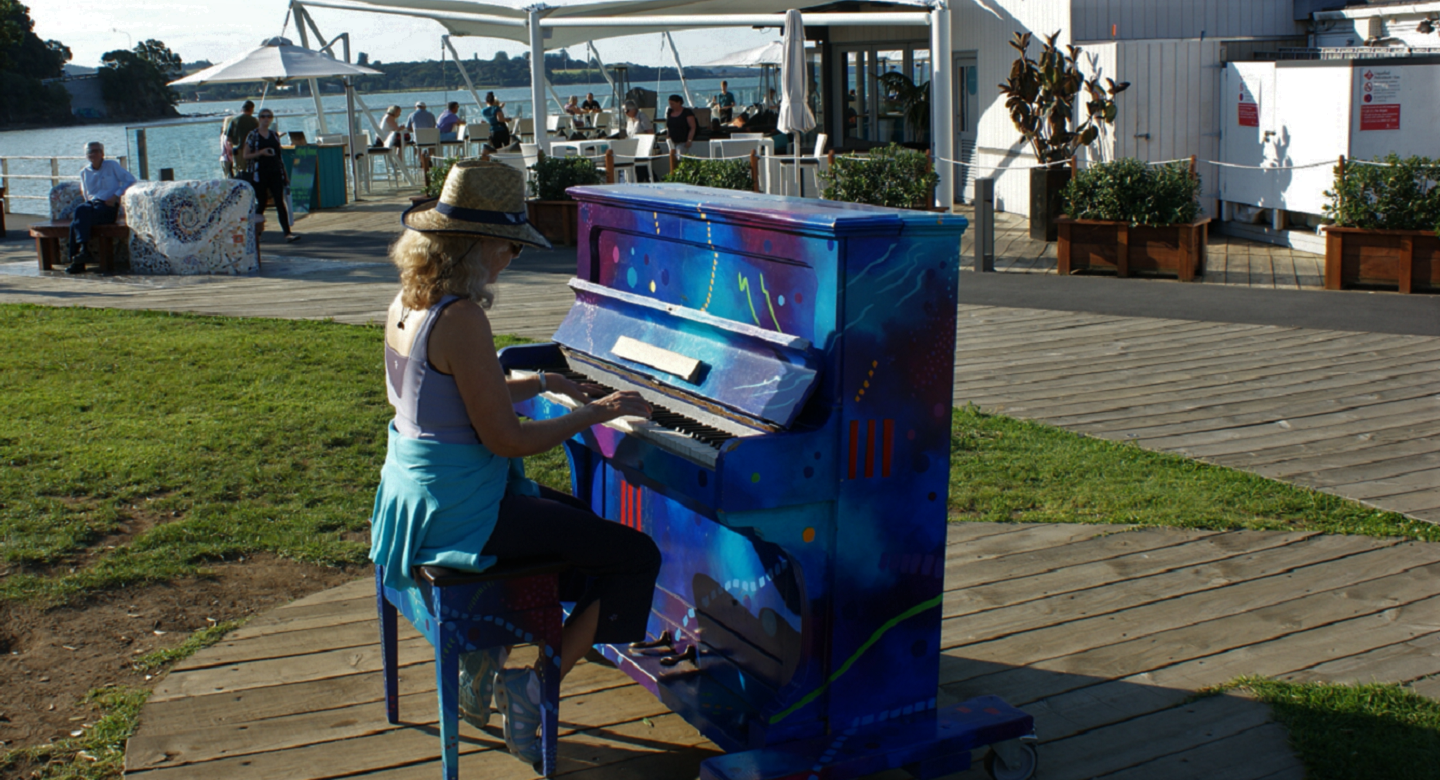 Playing a painted piano in Australia