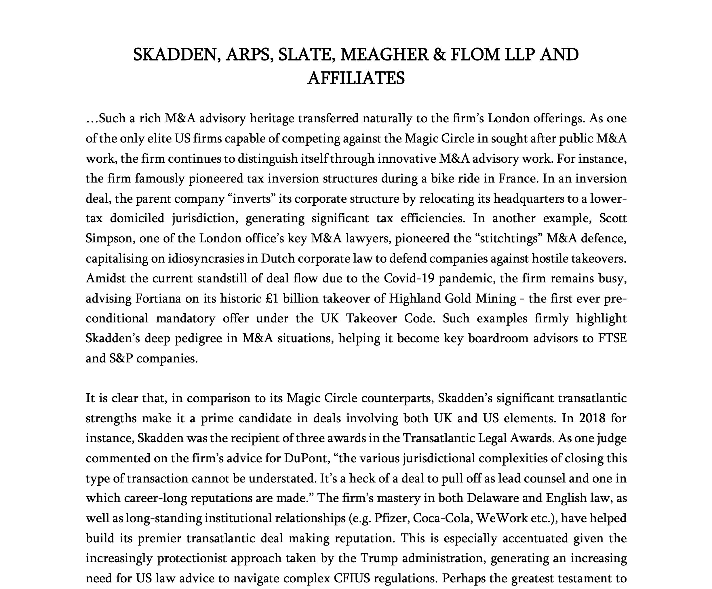 Skadden Arps Profile
