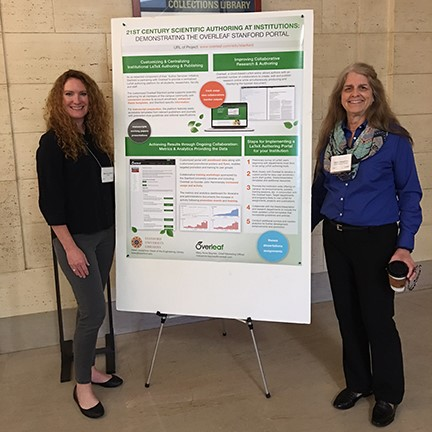 Mary Anne Baynes (Overleaf) and Helen Josephine (Stanford) with their poster at Stella 2016