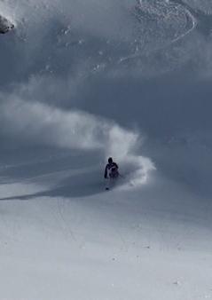 Pia skis a nice fresh line
