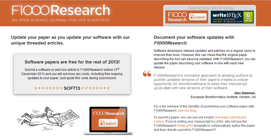 F1000Research software paper offer screenshot