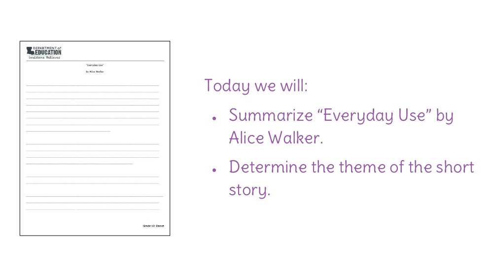 everyday use by alice walker plot diagram