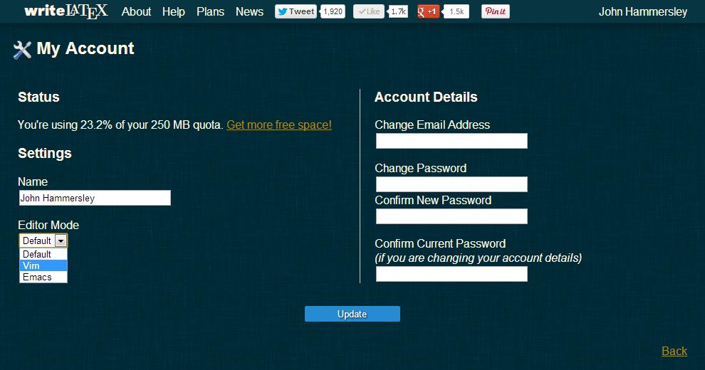 WriteLaTeX settings screenshot