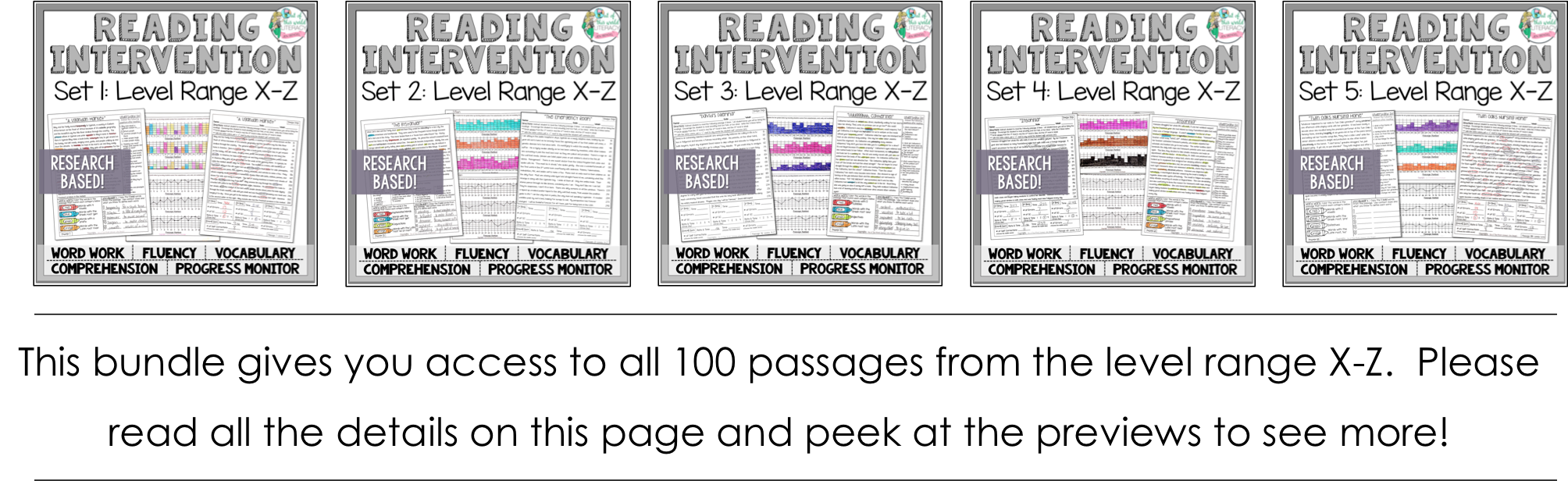 Reading intervention program sets x z jen bengel 8 progress monitoring pages for teacherstutors to track student growth with fluency comprehension word work and vocabulary geenschuldenfo Image collections