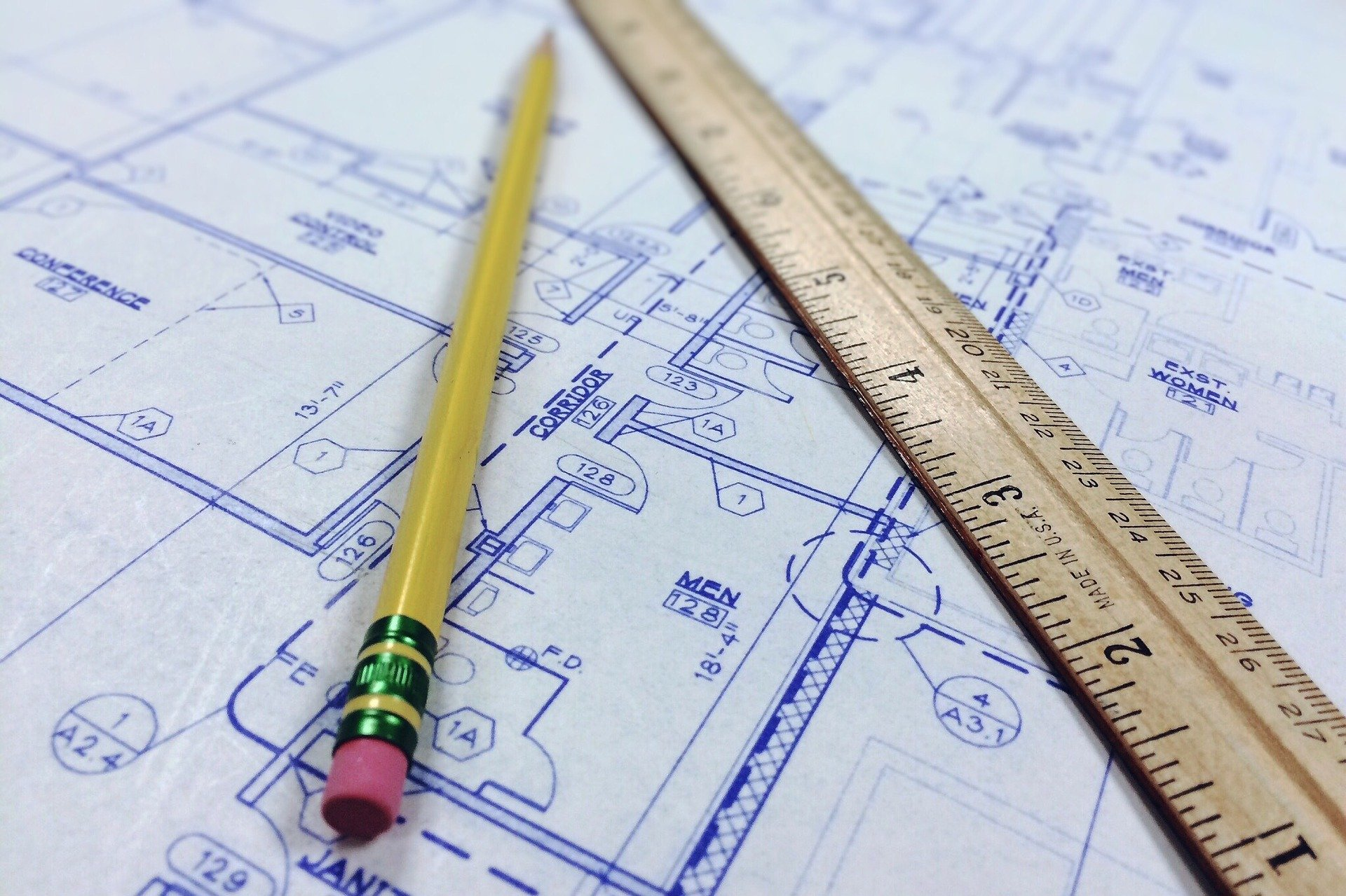 A blueprint with pencil and ruler.