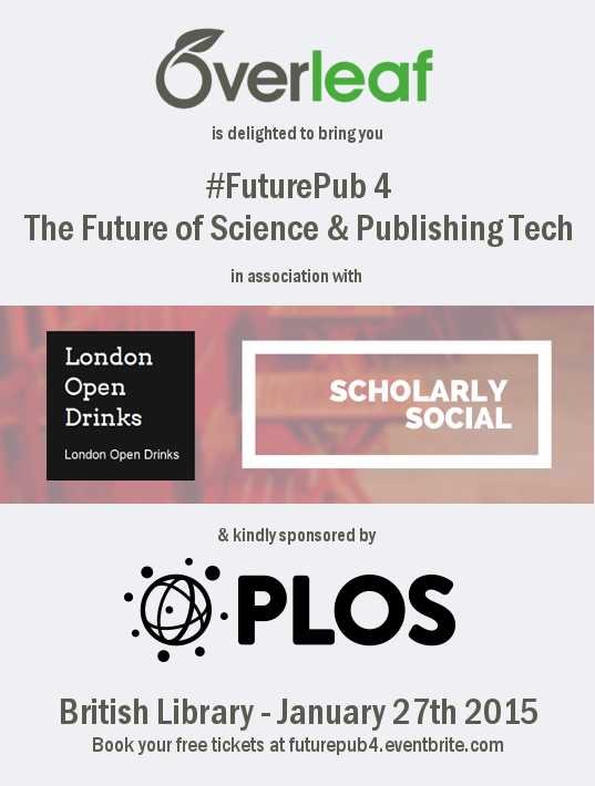 Overleaf writelatex futurepub scholarly social london open drinks PLOS event logo January 27th