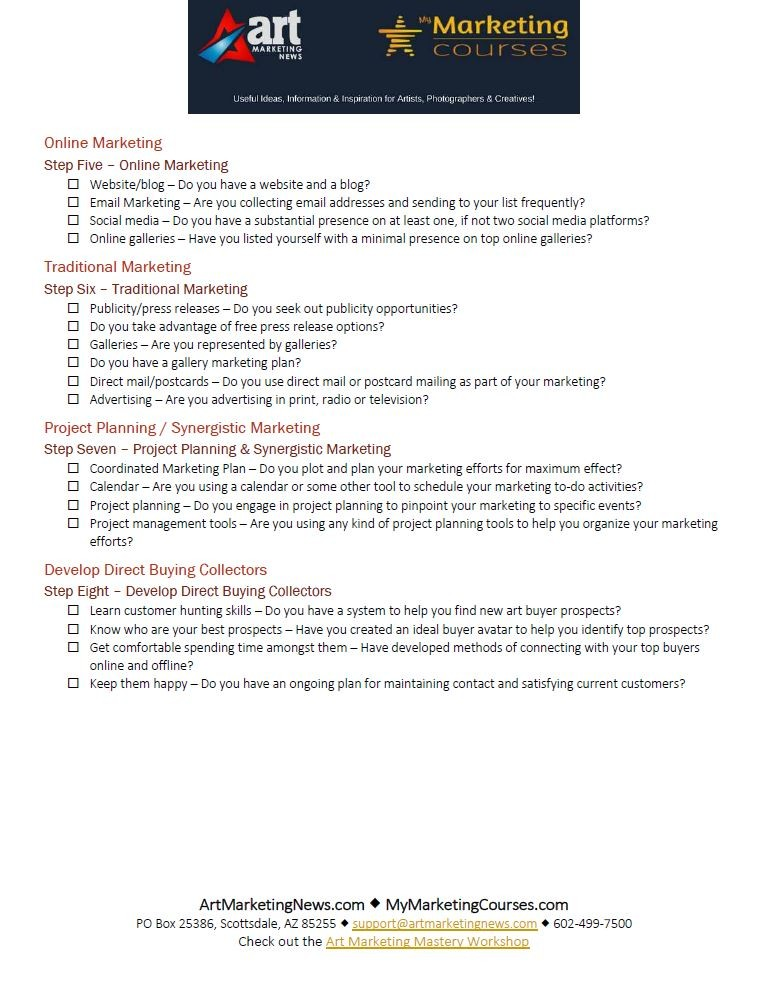 8-Steps to Art Marketing Mastery Checklist page 2