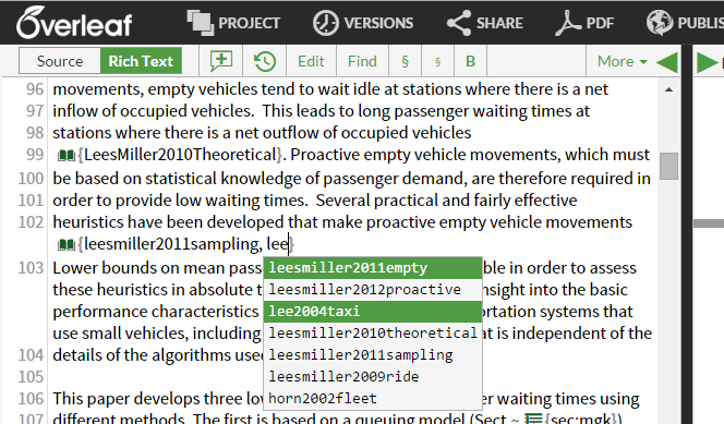 Overleaf multiple citation autocomplete second cite screenshot