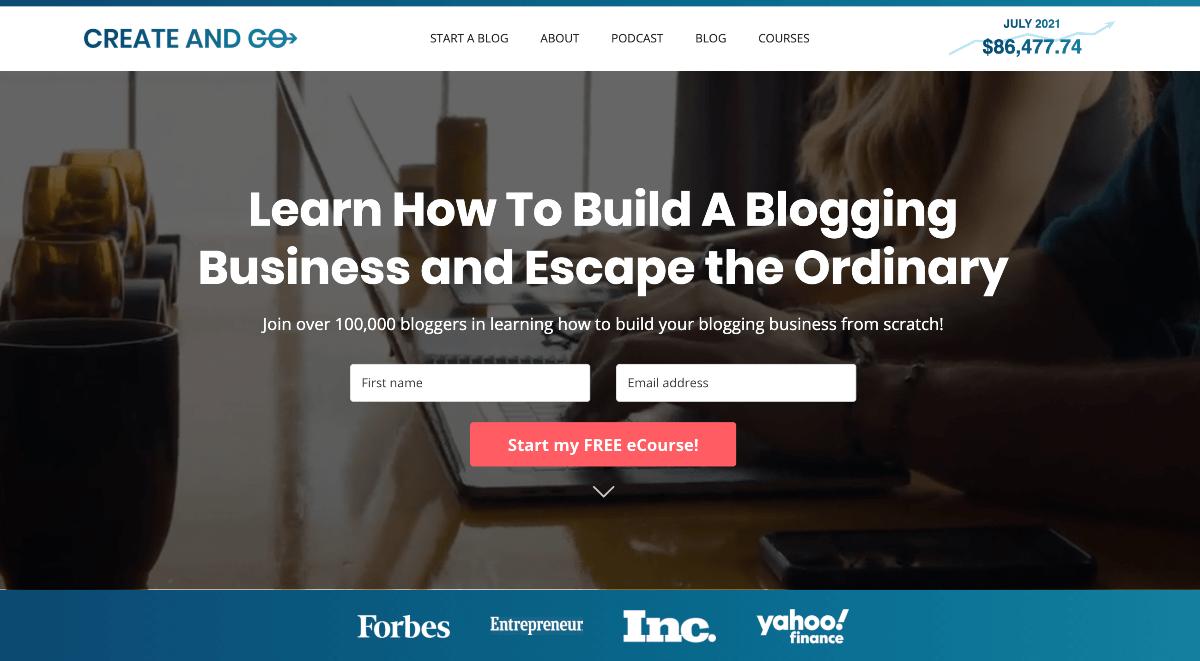 Create and Go Homepage