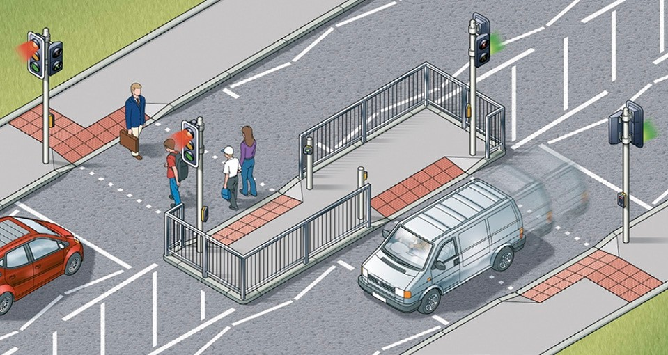 Rule 28- Staggered crossings (with an island in the middle) are two separate crossings