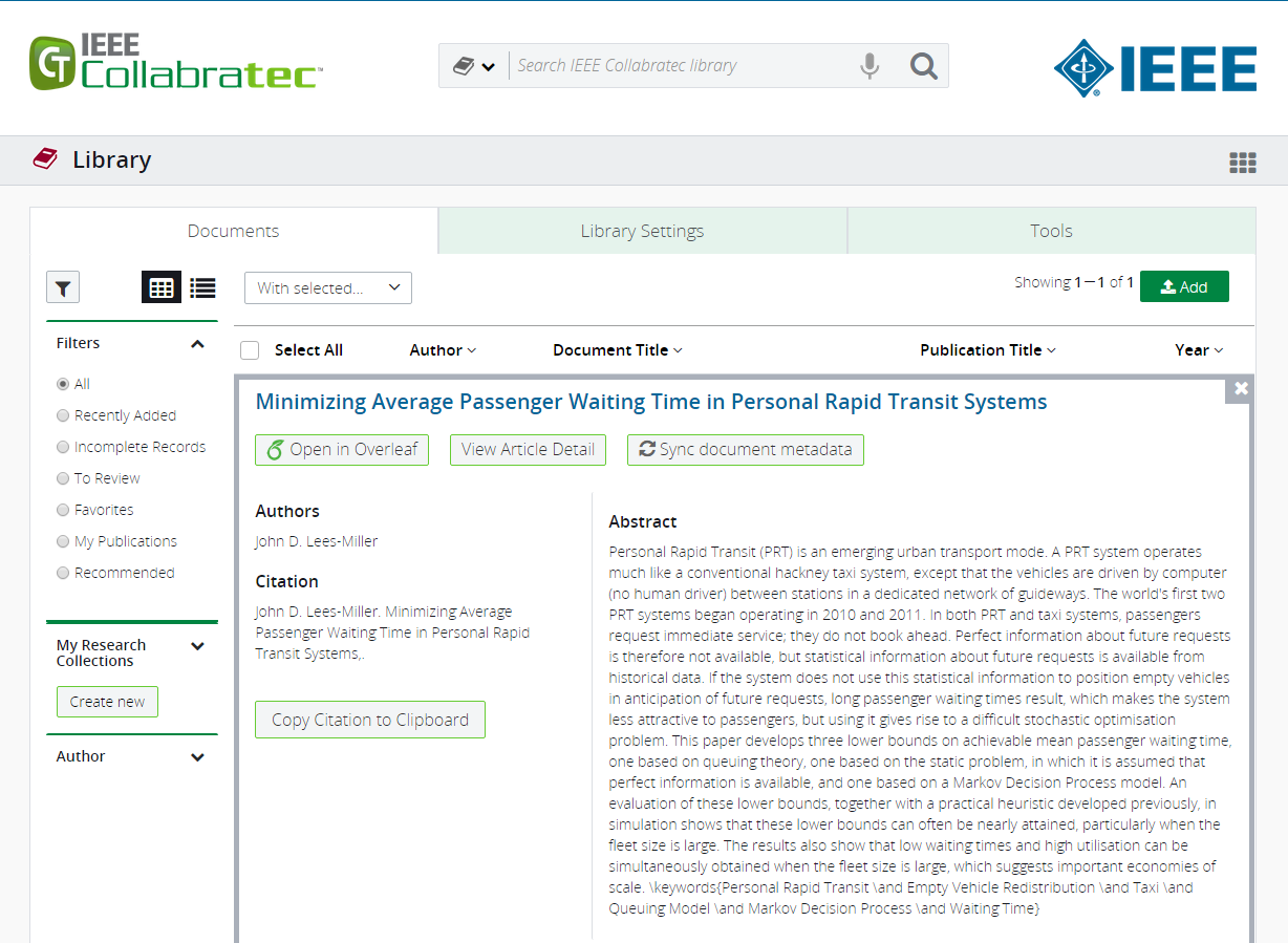 IEEE Collabratec screenshot showing Overleaf metadata integration research paper