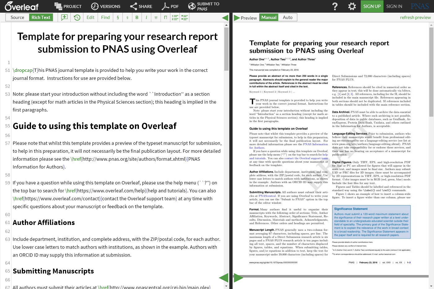 PNAS LaTeX author template on Overleaf