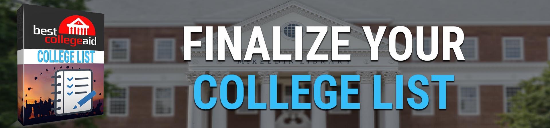 finalizar la lista de universidades