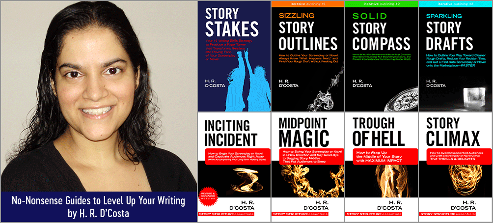 Book cover thumbnails + photo of H. R. D'Costa, author of 8 guides to level up your writing