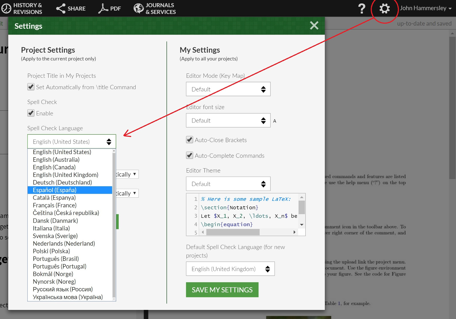 Overleaf spell check language option open in project setting
