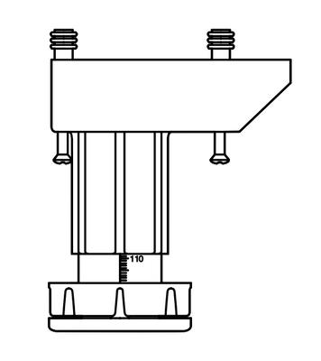 Bein 4-pk sort plast, høydejusterbare