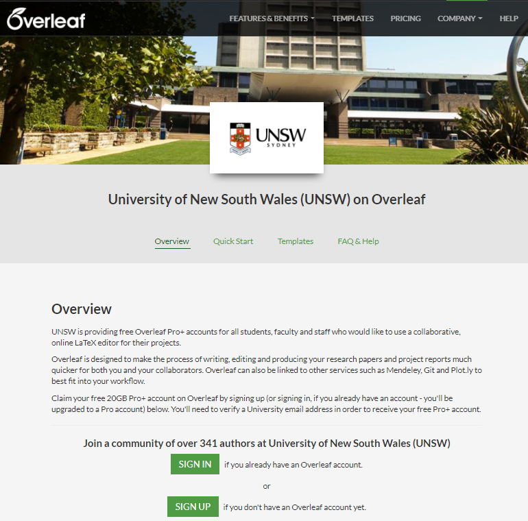 UNSW portal on the Overleaf platform