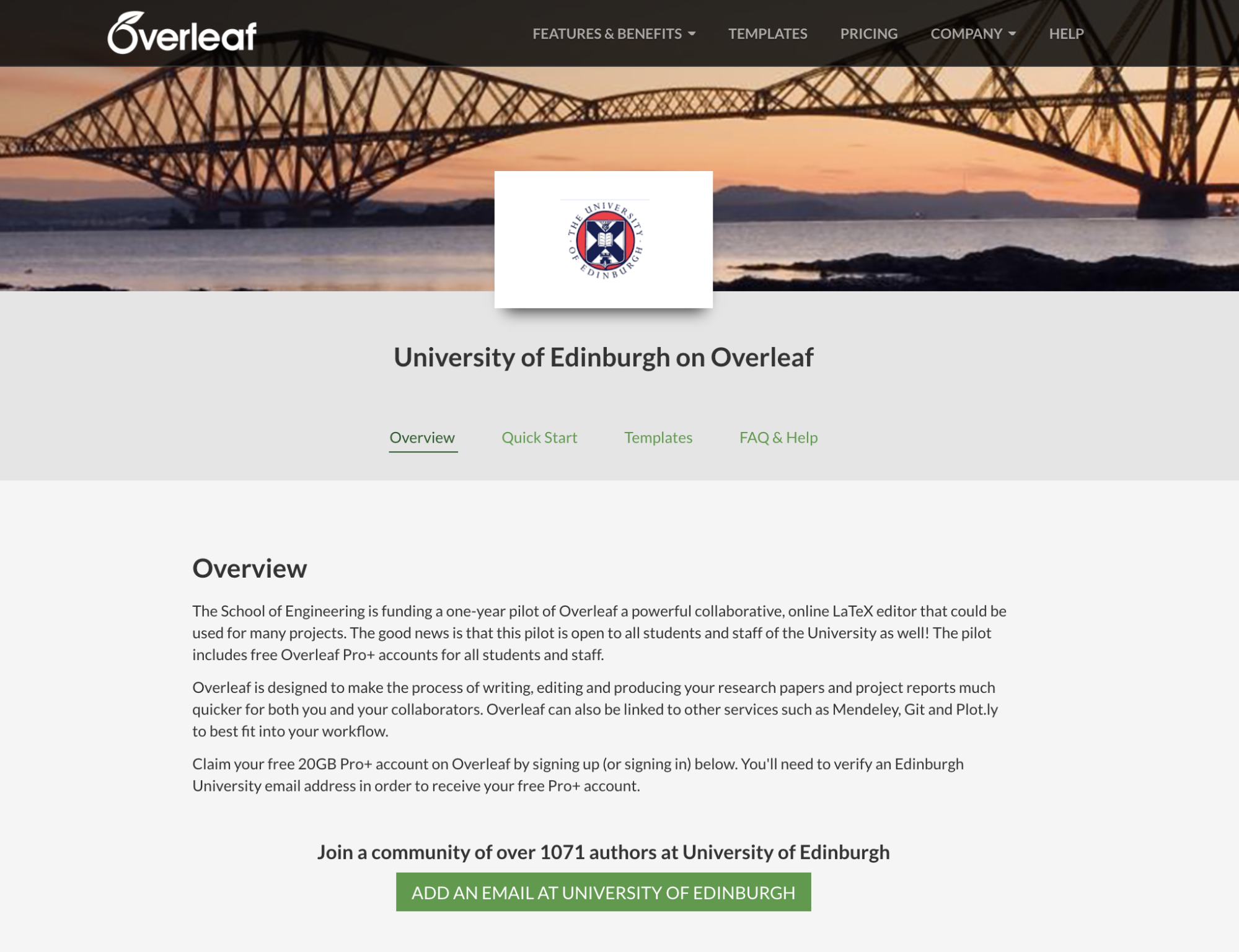 Screenshot showing the University of Edinburgh authoring portal on Overleaf.