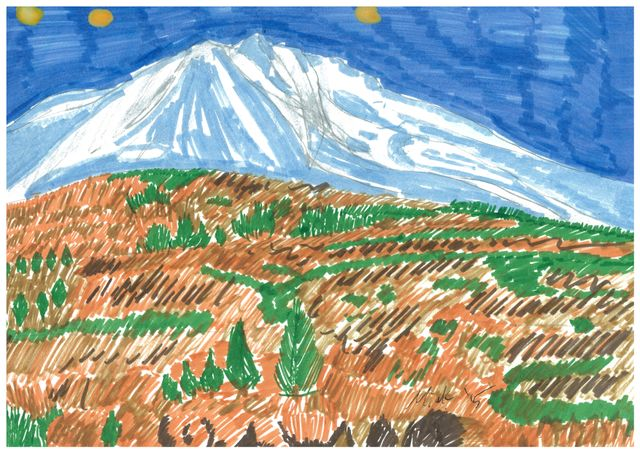image: MOUNT SHASTA. FOR SALE. TO APPEAR IN MY NEXT COMIC BOOK. CONTACT FOR PRICE