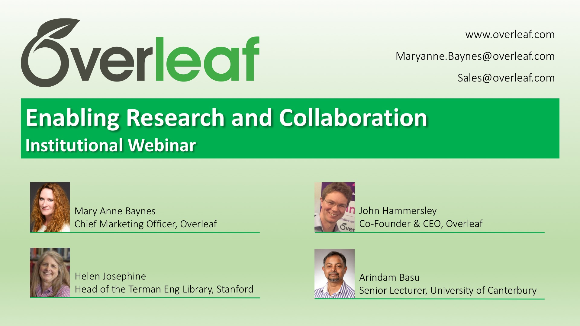 Enabling Research and Collaboration at Institutions - Overleaf Webinar Slide