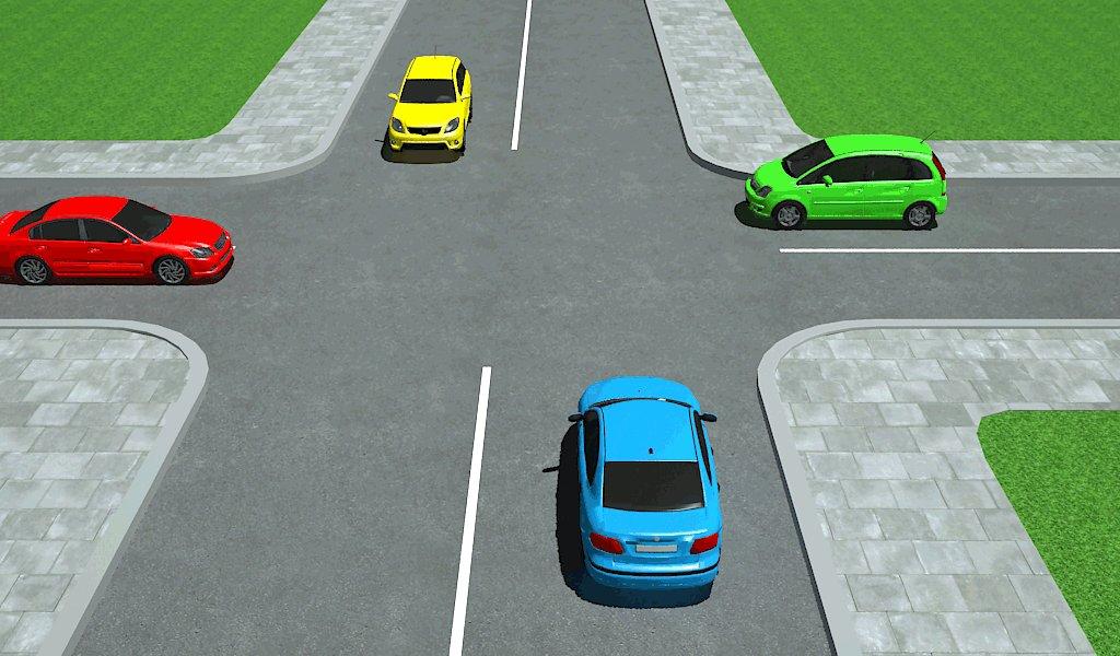 Keturi automobiliai lygiareikšmių kelių sankryžoje