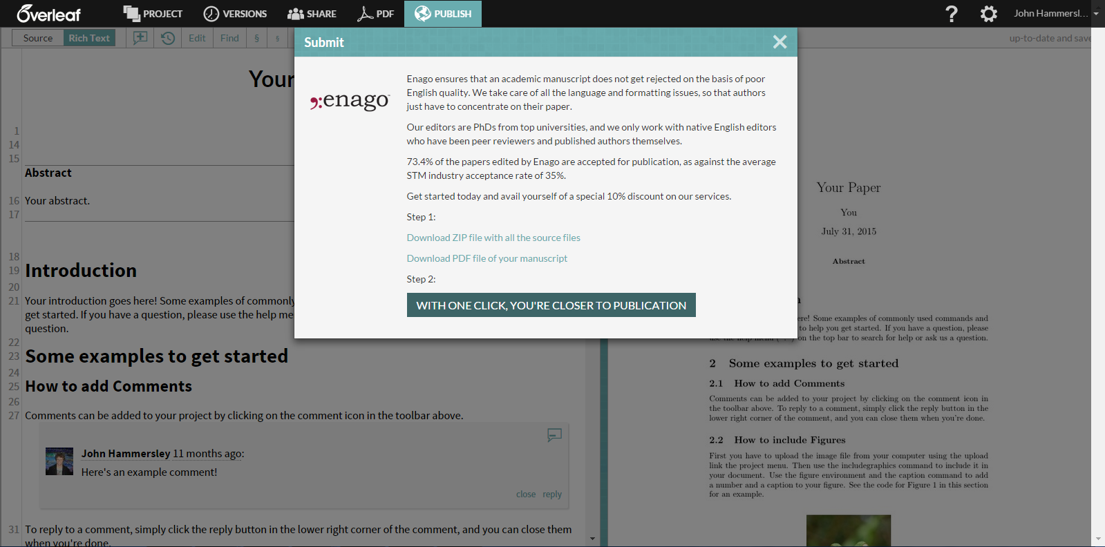 Enago in Overleaf publish menu modal