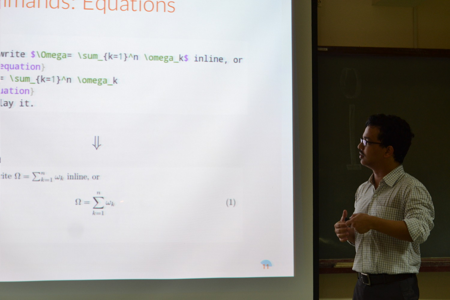 Overleaf Advisor Ratul Saha presenting at the Chennai Mathematical Institute