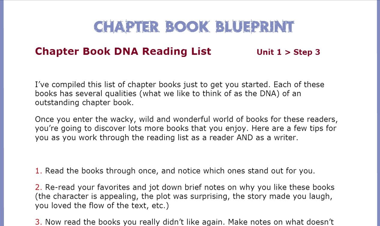 Chapter book blueprint writing blueprints chapter book blueprint includes a step by step self critique and revision system with expert guidance malvernweather