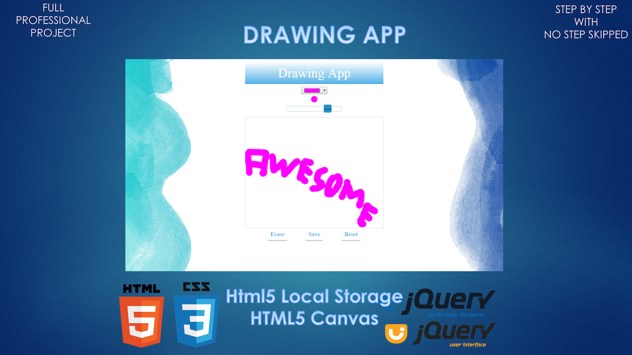 Build a Drawing App using HTML, CSS, jQuery UI, Canvas
