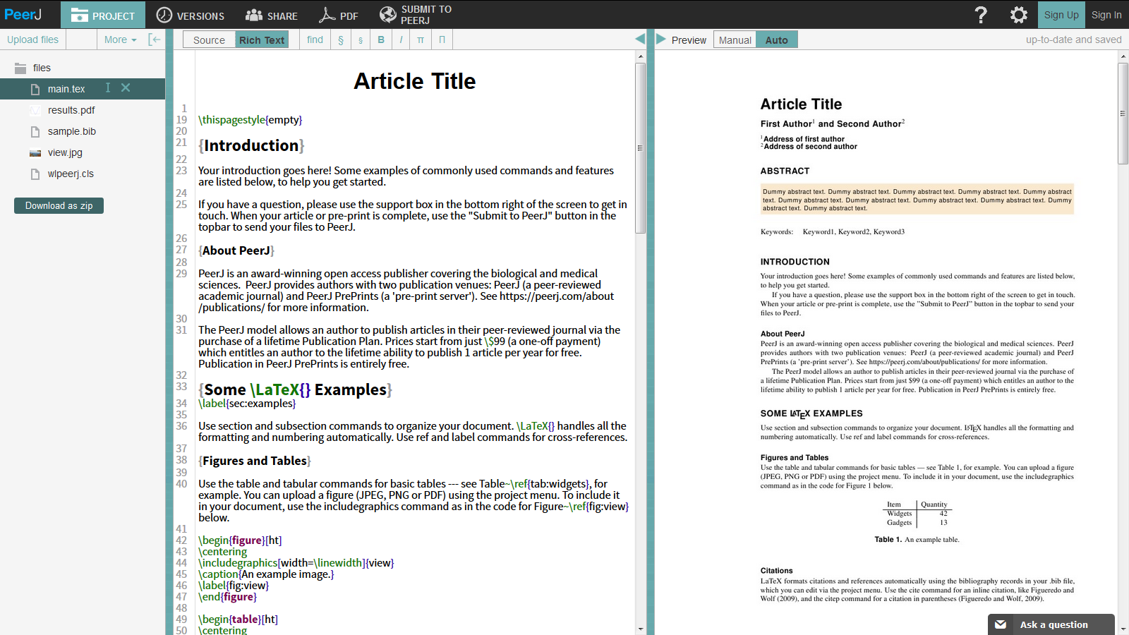 Overleaf PeerJ journal article and preprint LaTeX template screenshot