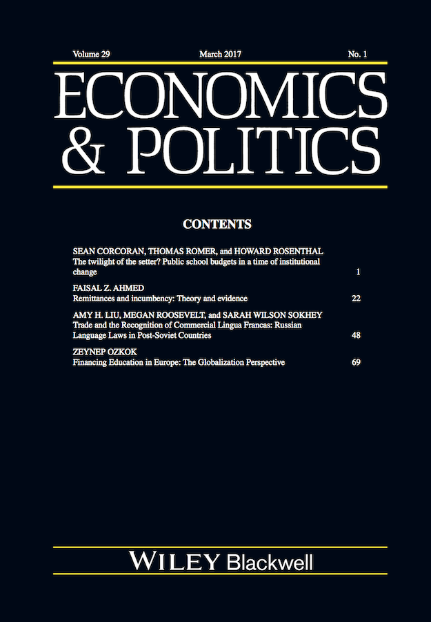 Template for submissions to Economics & Politics