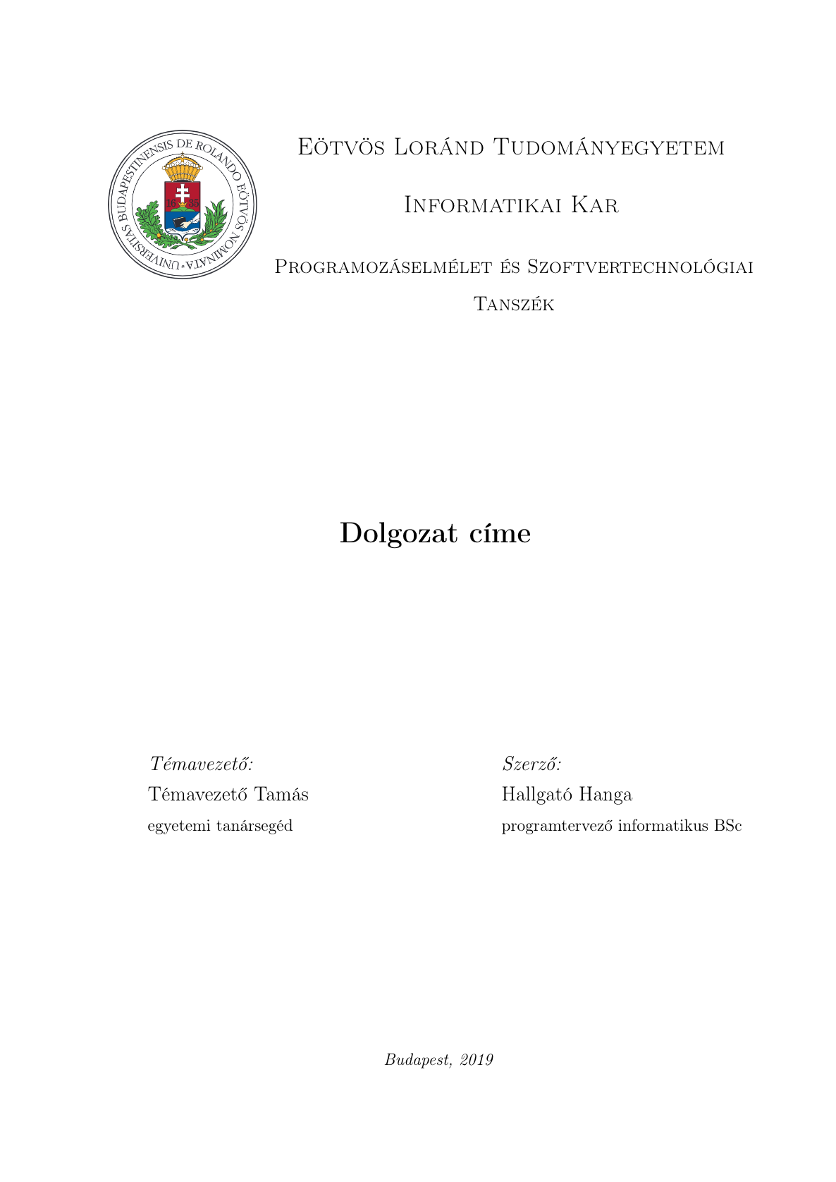 ELTE FI Thesis Template