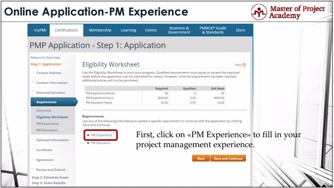 Master of Project Academy | Online PMP Application Steps