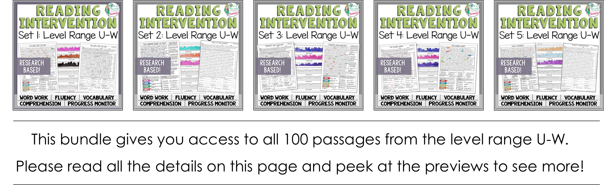 Reading intervention program sets u w jen bengel 8 progress monitoring pages for teacherstutors to track student growth with fluency comprehension word work and vocabulary geenschuldenfo Image collections