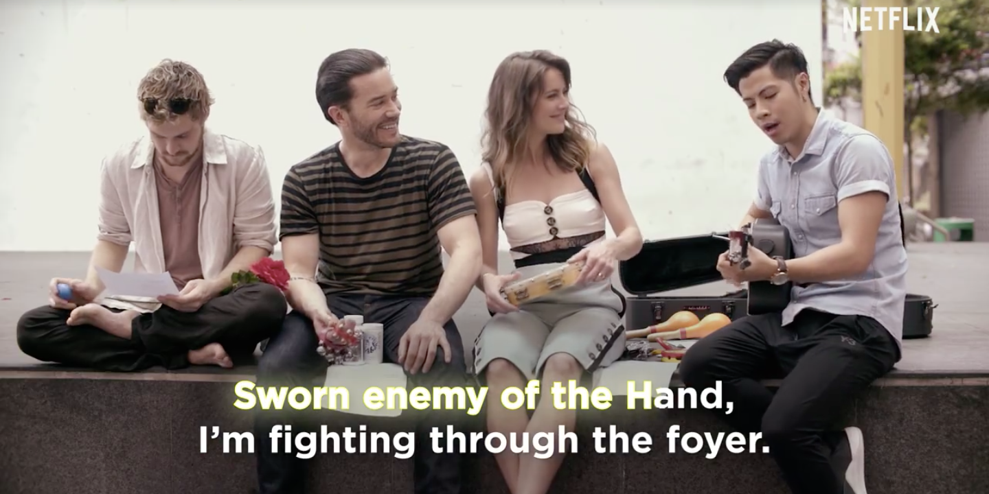 Benjamin Kheng plays his own theme song of Iron Fist with the main cast — watch