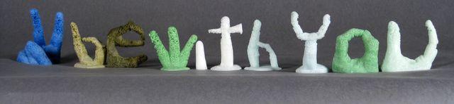 "image: Kiln-cast recycled bottle glass, tallest piece 3 3/4"", 2014"