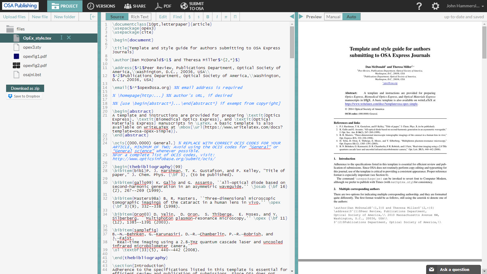 WriteLaTeX OSA Express Journal LaTeX template screenshot 1