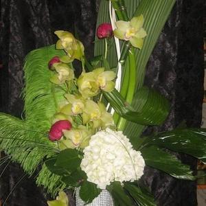 Vase et fleurs - Vase et fleurs plume - $200